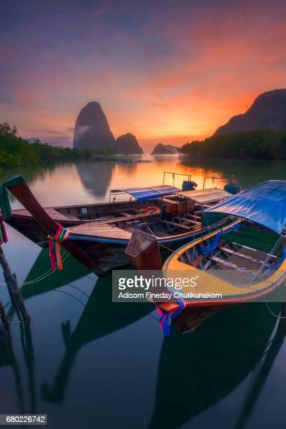 Beautiful sunrise at Phang-nga bay