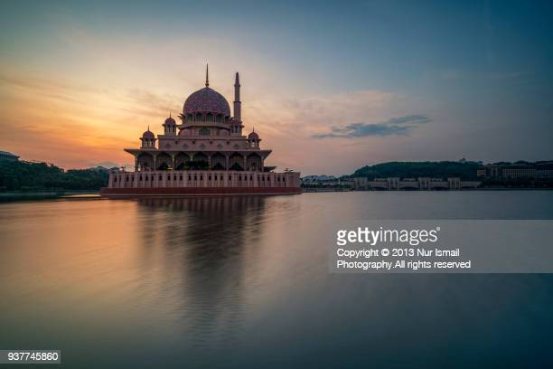 Beautiful sunrise at Putra Mosque, Putrajaya, Malaysia.
