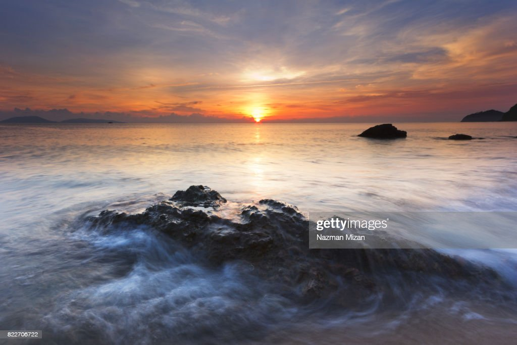 Beautiful sunrise at the beach of topical climate island. : Stock Photo
