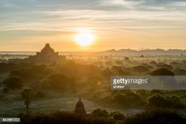Beautiful sunrise at the temple valley in Myanmar
