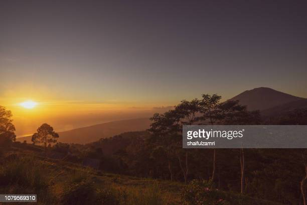 Beautiful sunrise from the top of Mount Batur - Bali, Indonesia