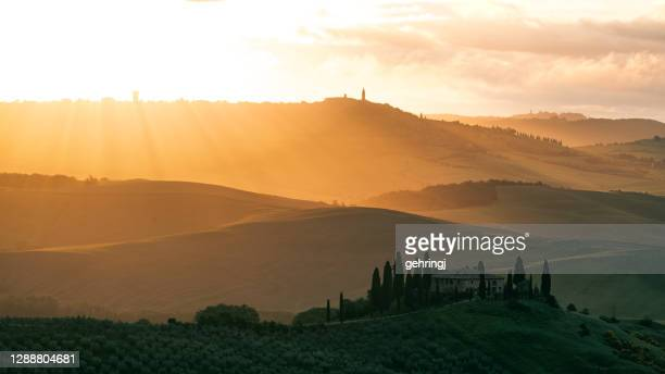 beautiful sunrise in tuscany, val d'orcia - mediterranean culture stock pictures, royalty-free photos & images