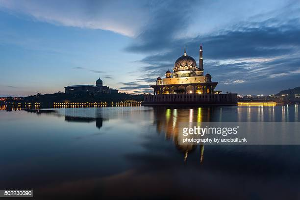 Beautiful sunrise on Putra mosque and JPM (Prime Minister Office) of Putrajaya