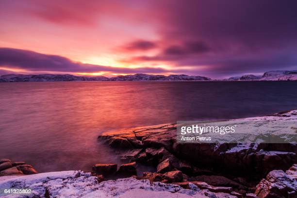 Beautiful sunrise on the shore of the Arctic Ocean