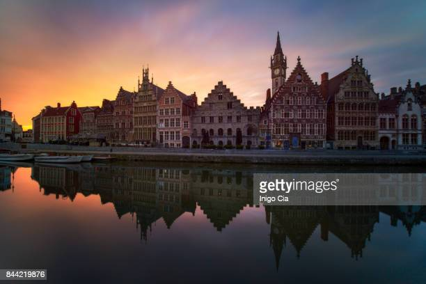 beautiful sunrise over ghent - west flanders stock pictures, royalty-free photos & images