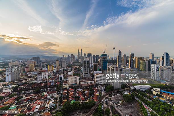 Beautiful sunrise over Kuala Lumpur after rain
