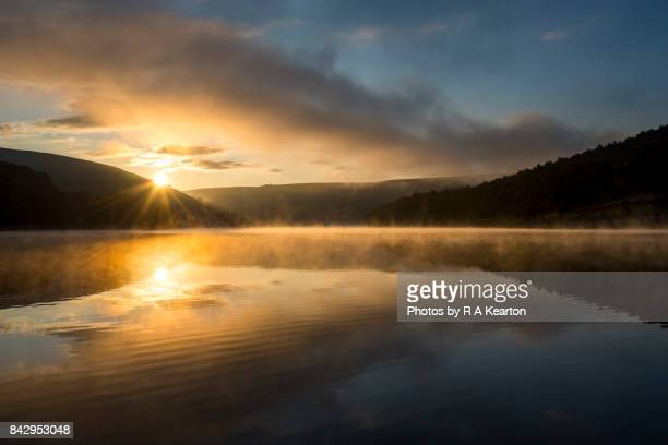 Beautiful sunrise over Ladybower reservoir, Derbyshire, England