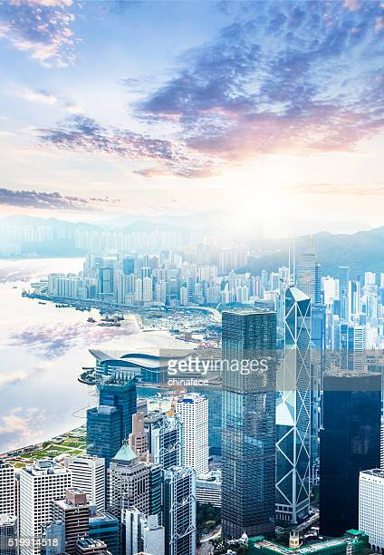 beautiful  sunrise over victoria harbor - hong kong stock pictures, royalty-free photos & images
