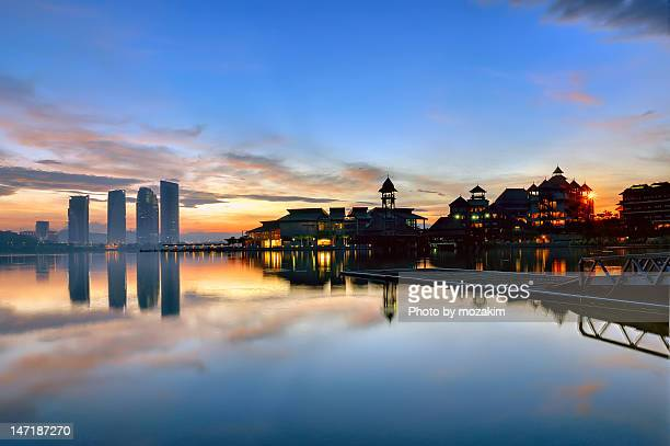 beautiful sunrise - putrajaya stock photos and pictures