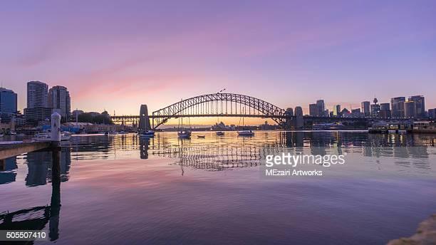 Beautiful sunrise scene at Sydney Harbour Bridge