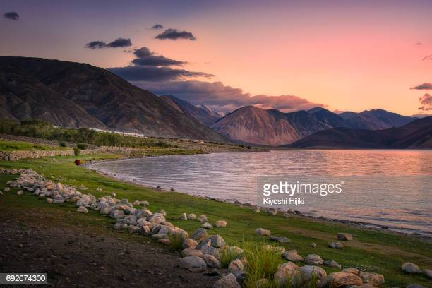 Beautiful sunrise view at Pangong lake in Ladakh region, India