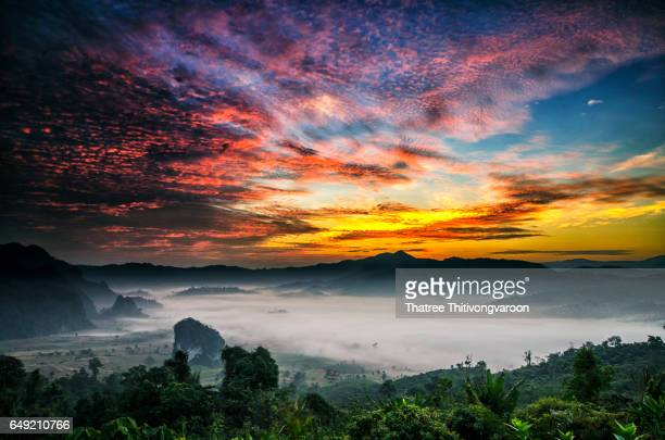 Beautiful sunrise with the morning mist, at Phu Lang ka National Park