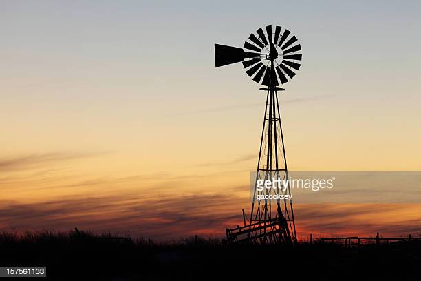 beautiful sunset and windmill - texas stock pictures, royalty-free photos & images