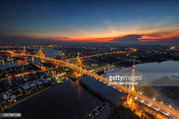 beautiful sunset at bhumibol bridge in bangkok,thailand. thailand is the best cultural and heritage holidays destination. - suvarnabhumi airport stock pictures, royalty-free photos & images