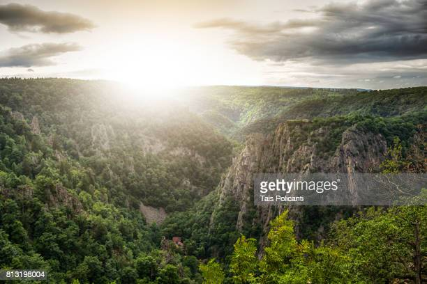 Beautiful sunset at Bodetal valley in Thale - Hexentanzplatz (Witches' Dance Floor), Harz mountains, Thale, Saxony-Anhalt, Germany
