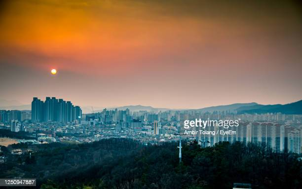 beautiful sunset at daegu city, sotuh korea. - daegu stock pictures, royalty-free photos & images