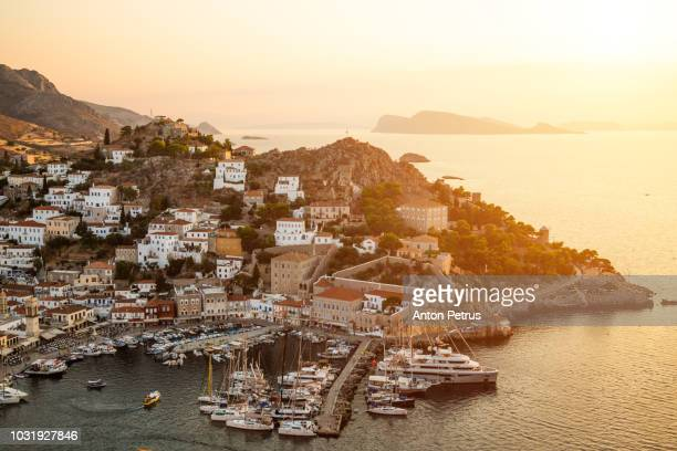 beautiful sunset at hydra island, greece - greece stock pictures, royalty-free photos & images