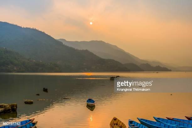 Beautiful sunset at Phewa Lake in Phokara, Nepal.