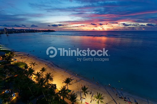 Beautiful Sunset At Tumon Beach Guam Island Stock Photo