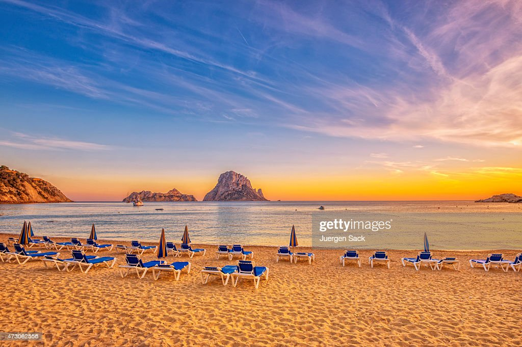 Beautiful sunset beach at Cala d´Hort on Ibiza : Stock Photo