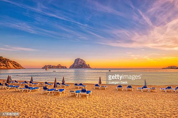 beautiful sunset beach at cala d´hort on ibiza - ibiza island stock pictures, royalty-free photos & images