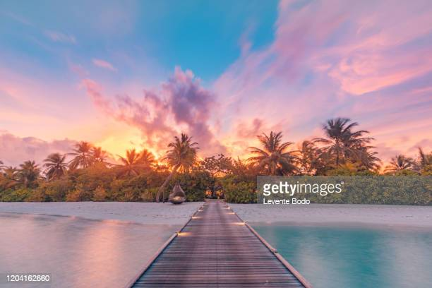beautiful sunset beach scene. colorful sky and clouds view with calm sea and relaxing tropical mood - tourist resort stock pictures, royalty-free photos & images