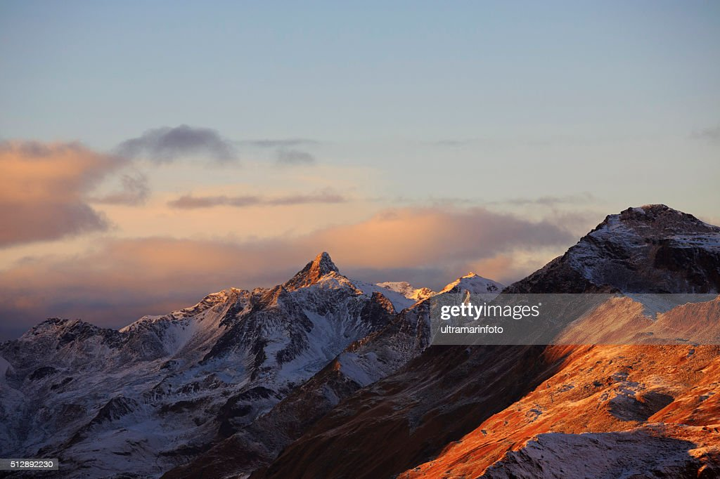 Beautiful Sunset High Mountain Snowy Landscape Europe Italian Alps Stock Photo