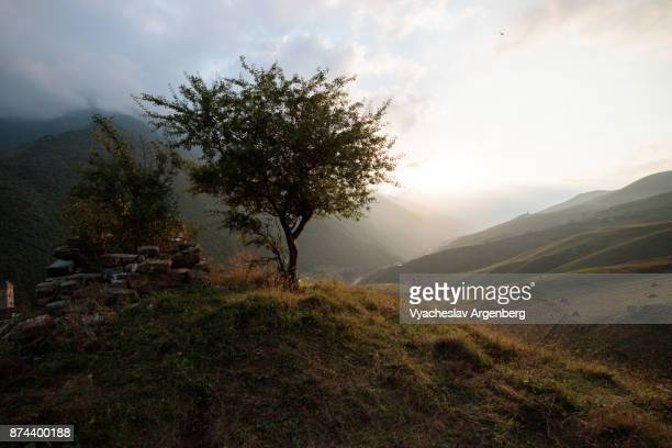 beautiful sunset in armkhi valley of ingushetia/chechnya - chechnya stock pictures, royalty-free photos & images