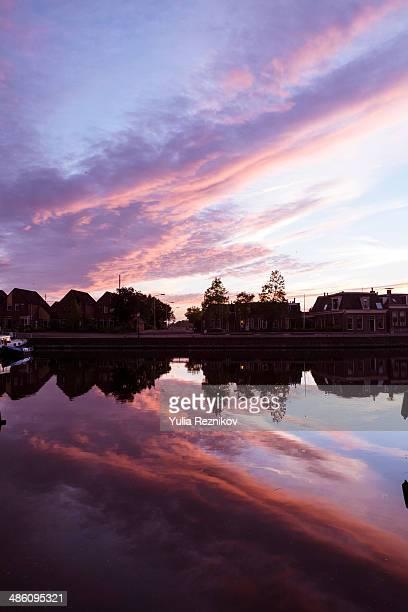 Beautiful sunset in Lemmer