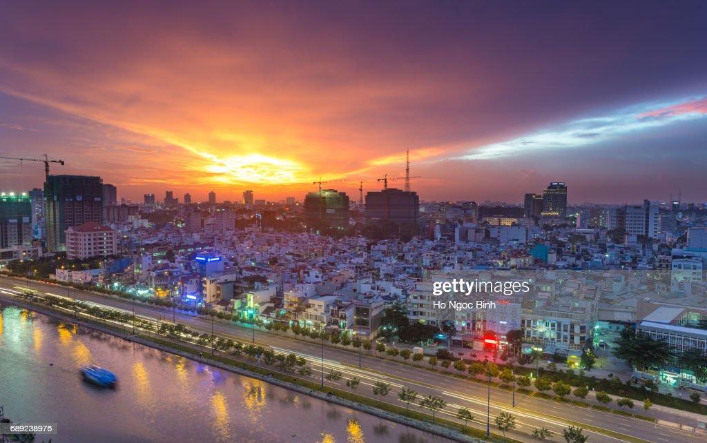 Beautiful sunset in saigon/Hochiminhcity, Viet Nam : Stock Photo