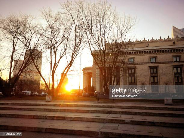 a beautiful sunset in the heart of warsaw - mazowieckie stock pictures, royalty-free photos & images
