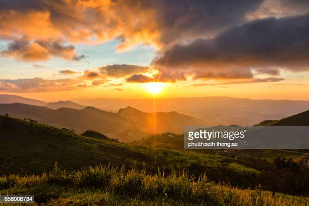 Beautiful Sunset in the mountains at Thailand.