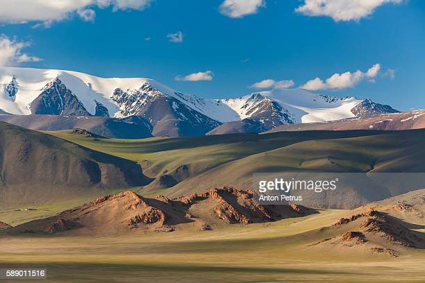 beautiful sunset in the mountains, mongolia - independent mongolia stock pictures, royalty-free photos & images