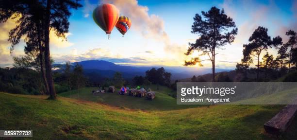 Beautiful sunset nature background Mountains and sky, huai nam dang national park Chiang Mai Thailand