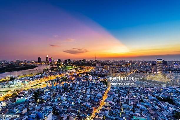 Beautiful sunset of Ho Chi Minh city skyline