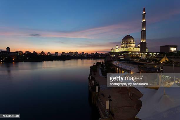 Beautiful sunset on Putra mosque of Putrajaya
