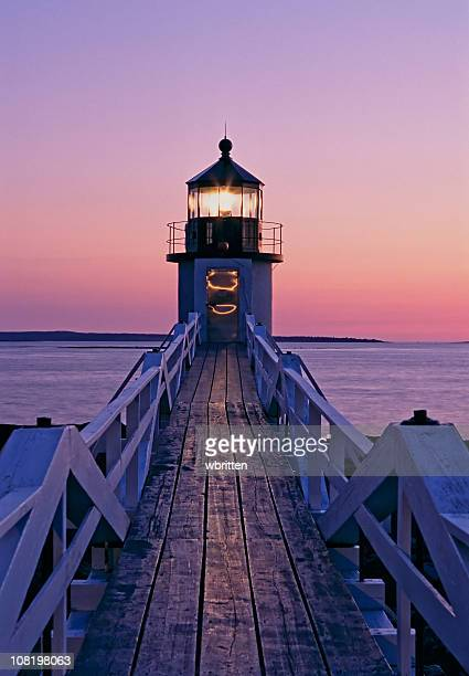 Beautiful sunset on the Marshal Point lighthouse