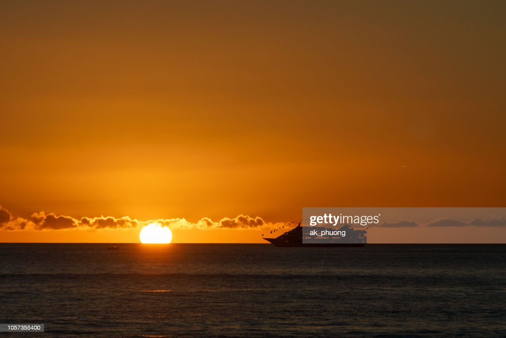 Beautiful Sunset On Waikiki Beach Honolulu Stock Photo