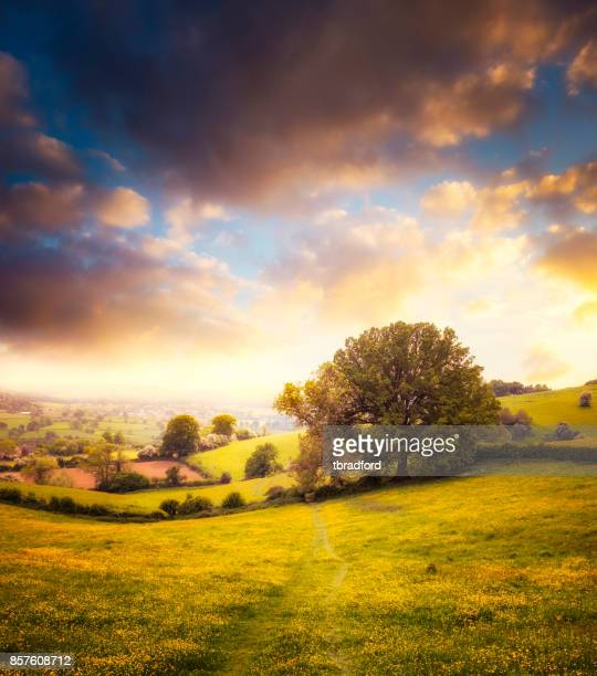 Beautiful Sunset Over A Landscape View In The Cotswolds, England