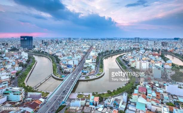 Beautiful Sunset over Downtown Saigon - the biggest city in Vietnam on weekend