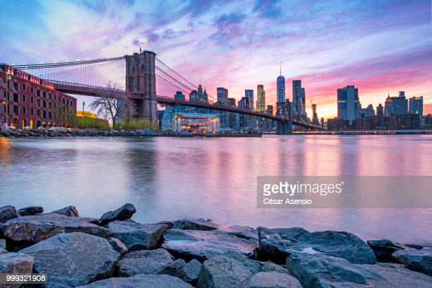 A beautiful sunset over New York city.