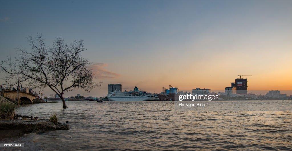 Beautiful Sunset over Saigon - the biggest city in Vietnam : Stock Photo