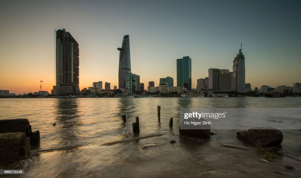 Beautiful Sunset over Saigon - the biggest city in Vietnam : Stock Photo