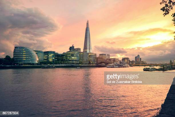Beautiful sunset over Thames river. London.