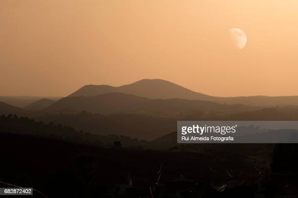 Beautiful sunset over the hills, Portugal landscapes