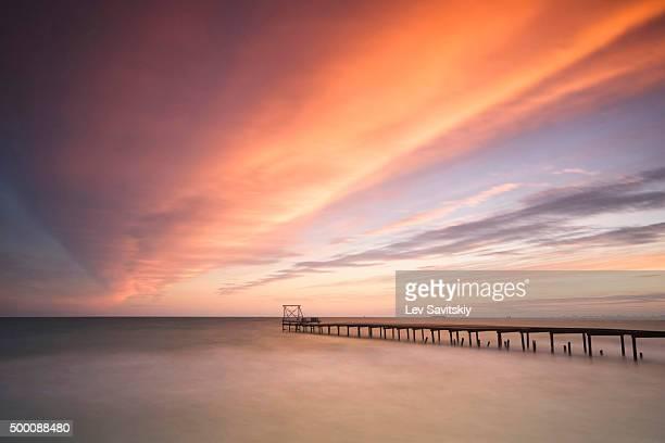 Beautiful sunset over the pier in Odessa, Ukraine