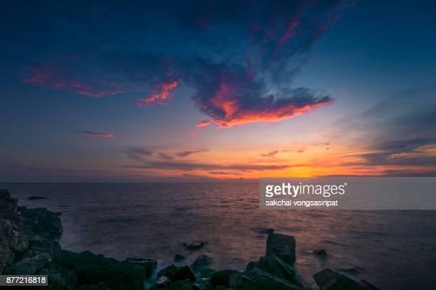 beautiful sunset over the sea, chanthaburi, thailand. - chanthaburi sea stock pictures, royalty-free photos & images