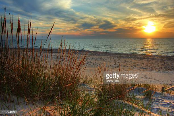 beautiful sunset - lake michigan stock pictures, royalty-free photos & images