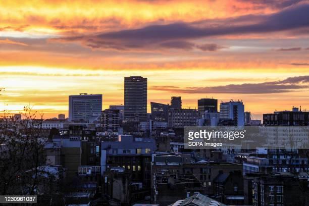 Beautiful sunset seen over the London skylin.