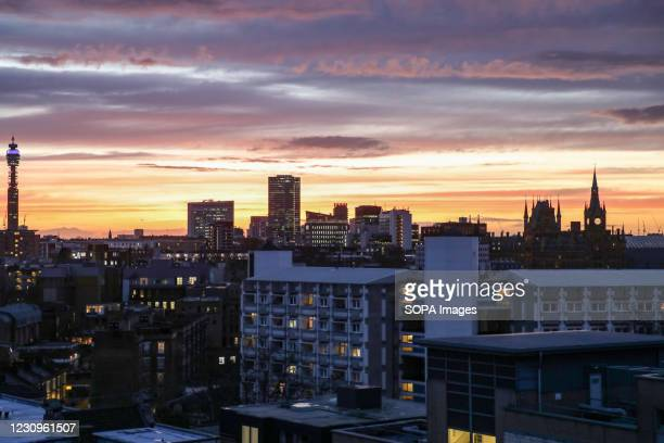 Beautiful sunset seen over the London skyline including views of the BT Tower and St Pancras International Train Station.